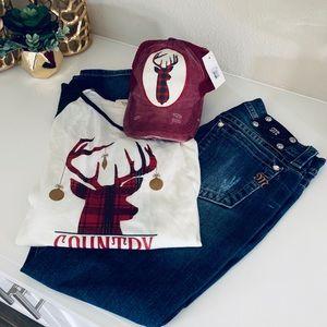 ~Southern Junkie~ New Christmas Shirt & Hat Sz. M